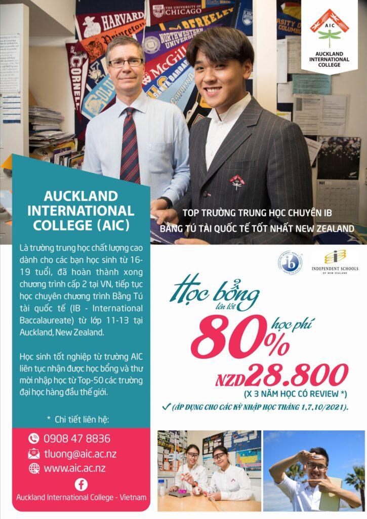 auckland international collegeHỌC BỔNG 80% HỌC PHÍ CHO HỌC SINH VIETNAM NĂM 2021-2022