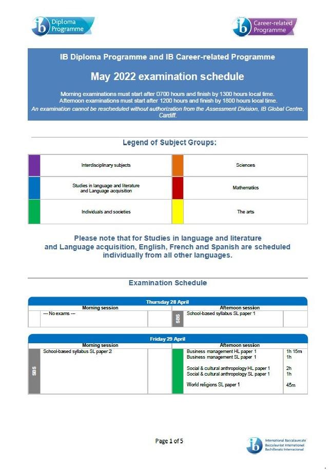 Lịch thi IB examination schedule